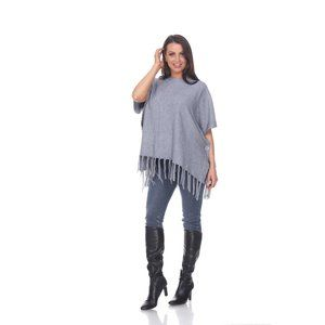 REVERSIBLE FRINGED PONCHO TOP GREY 649-03 O/S